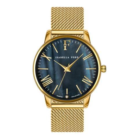 Isabella Ford Gold Stella Mesh 38mm Watch