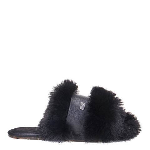 Australia Luxe Collective Black Muchas Luxe Faux Fur Slipper
