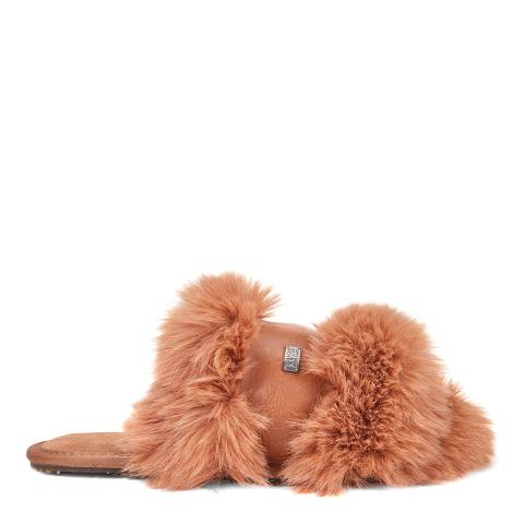 Australia Luxe Collective Chestnut Muchas Luxe Faux Fur Slipper