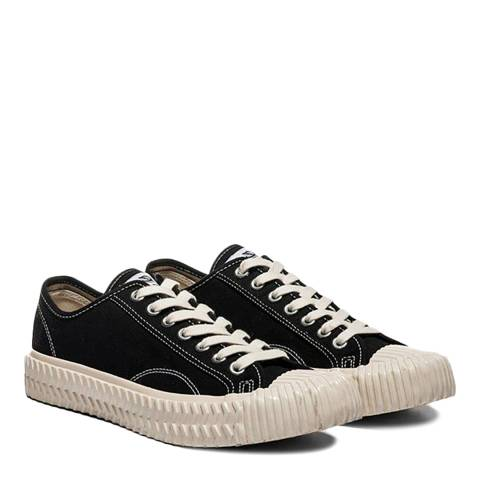 Excelsior Carbon Black Canvas & Off White Sole Low Sneakers