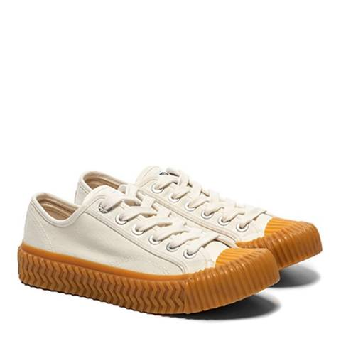 Excelsior White Canvas & Gum Sole Low Sneakers
