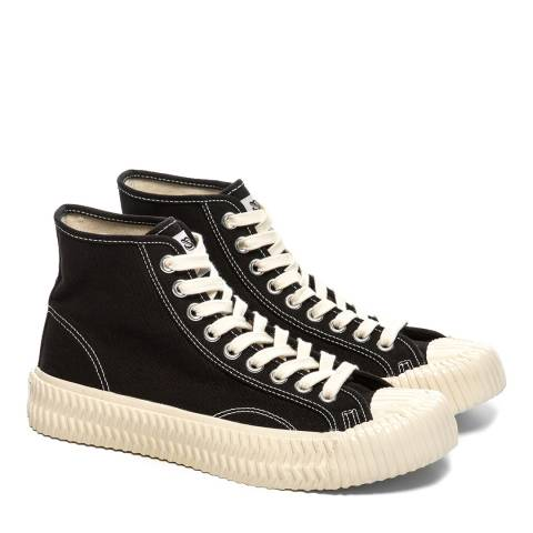 Excelsior Black & Off White Sole Canvas Hi Top Sneakers