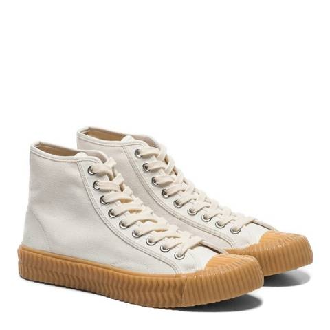 Excelsior White & Gum Sole Canvas Hi Top Sneakers