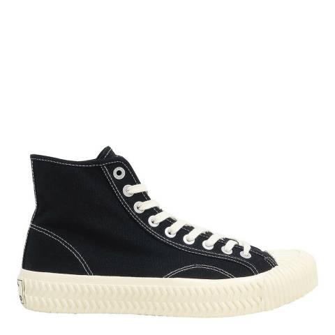 Excelsior Carbon Black & Off White Sole Canvas Hi Top Sneakers