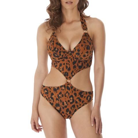 Freya Leopard Roar Instinct Uw Padded Cut Out Halter Suit