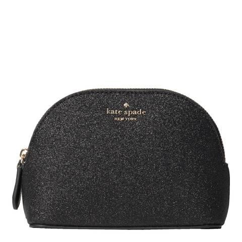 Kate Spade Black Glitter Small Dome Cosmetic Bag