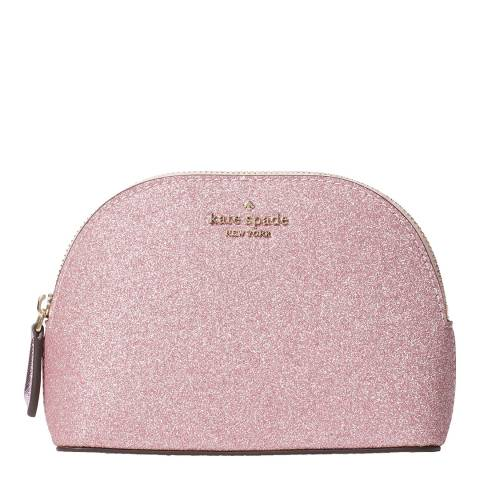 Kate Spade Rose Pink Glitter Small Dome Cosmetic Bag