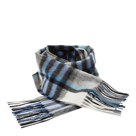 Edinburgh Lambswool Bright Blue Grey Chequer Tartan Lambswool Tartan Scarf