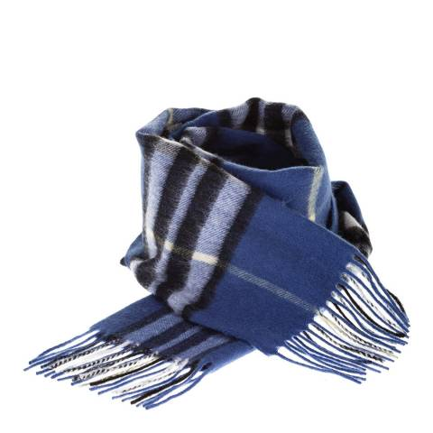 Edinburgh Lambswool Enlarged Scotty Thom Ultramarine Lambswool Tartan Scarf