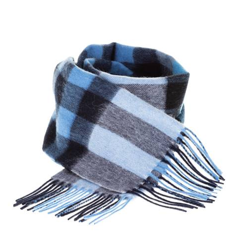 Edinburgh Lambswool Navy Blue Giant Chequer Lambswool Tartan Scarf