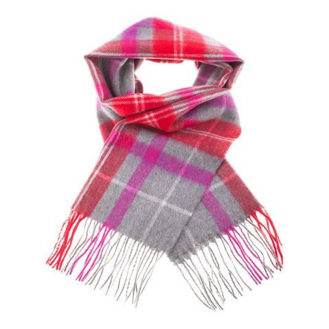 Edinburgh Lambswool Red Grey Tweed Tartan Check Lambswool Tartan Scarf