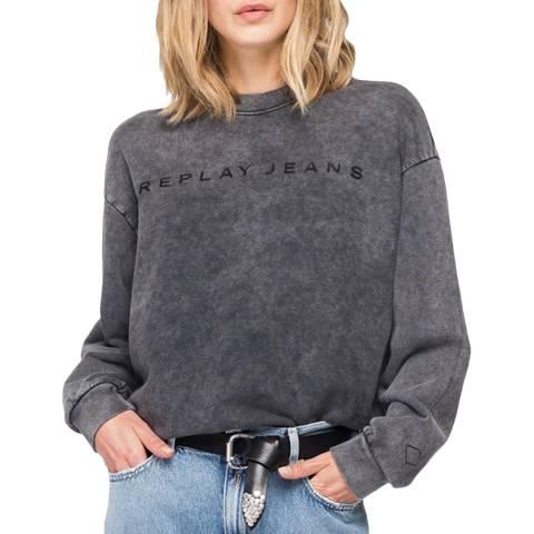 Replay Washed Black Crew Sweatshirt