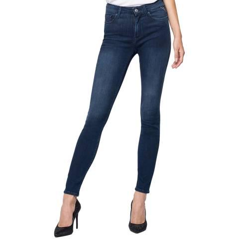 Replay Navy High Waist Luzien Skinny Stretch Jeans