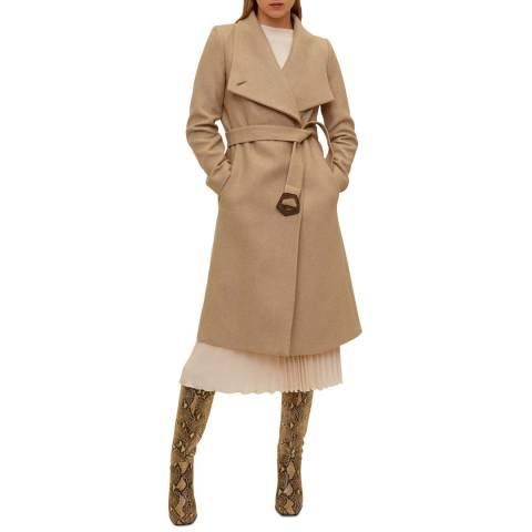 Mango Medium Brown Wide Lapel Wool-Blend Coat