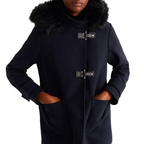 Mango Dark Navy Faux Fur Hooded Wool Coat