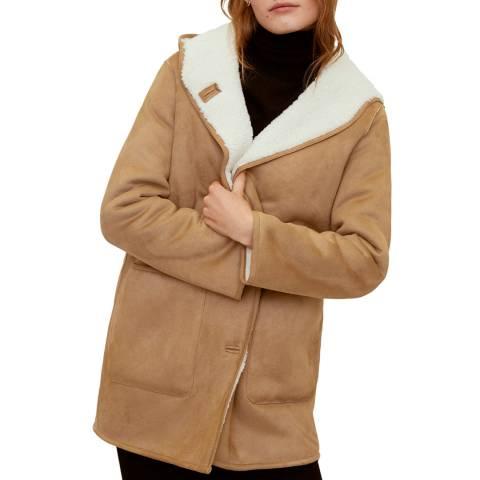 Mango Brown Faux Shearling Lining Coat