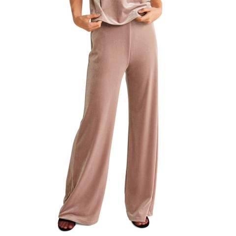 Mango Pastel Pink Velvet Palazzo Trousers