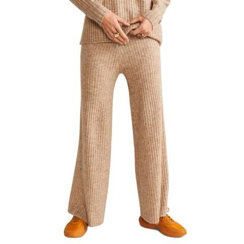 Mango Medium Brown Ribbed Knit Trousers