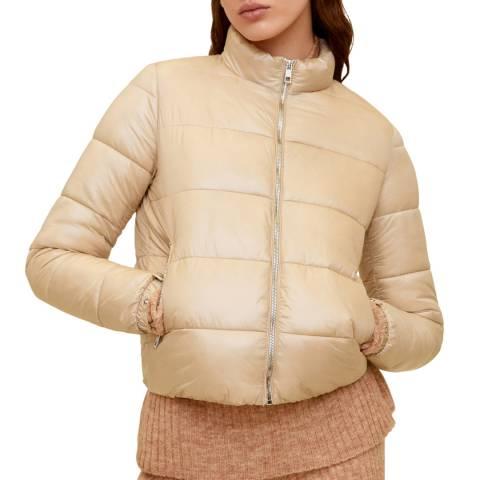 Mango Women's Light/Pastel Grey Side-Zip Quilted Coat