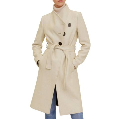 Mango Beige Wool Double-Breasted Coat