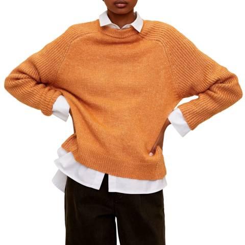 Mango Medium Brown Long Raglan Sleeve Jumper