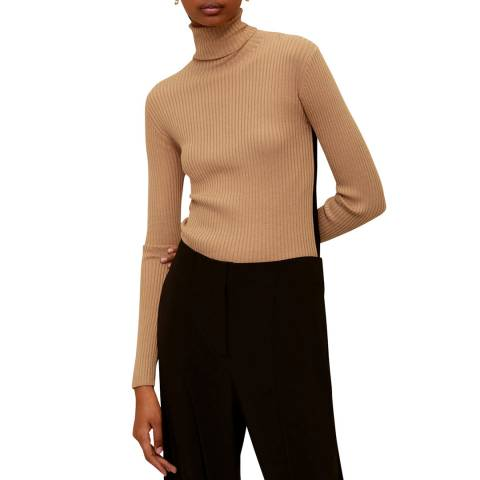 Mango Medium Brown Ribbed Knit Jumper