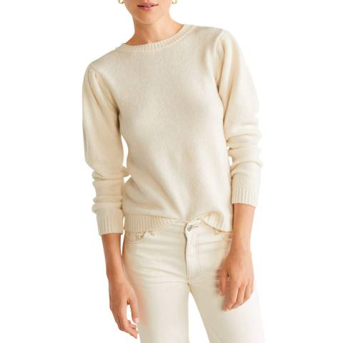 Mango Ecru Ribbed Knit Jumper