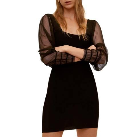 Mango Black Organza Sleeves Dress