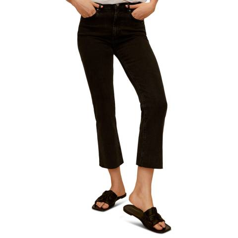 Mango Black denim High Waist Flared Jeans
