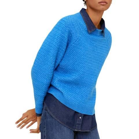 Mango Blue Long Raglan Sleeve Jumper