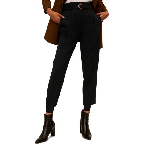 Mango Black Belted Crepe Trousers