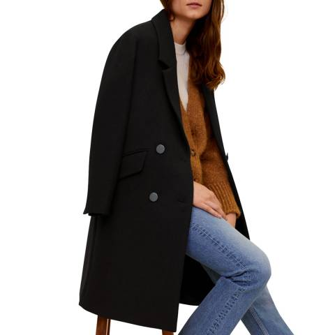 Mango Black Lapels Structured Coat