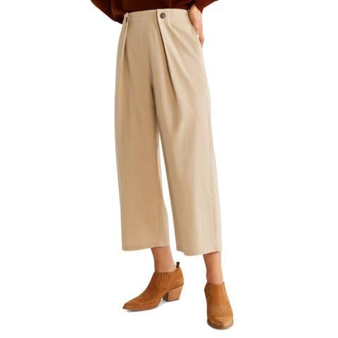 Mango Beige Pleats Culotte Trousers