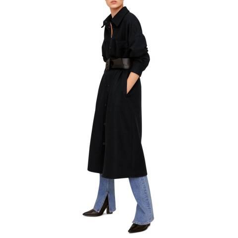 Mango Black Pocket Structured Coat