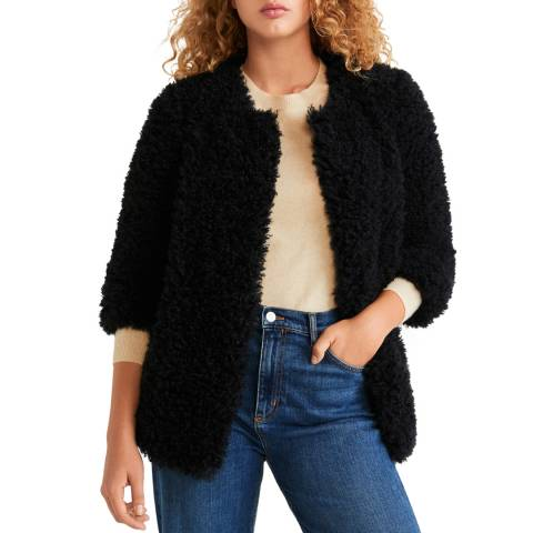 Mango Black Faux Fur Jacket