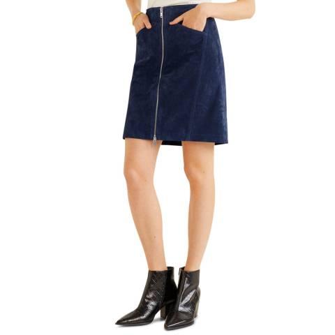 Mango Dark Navy Leather Miniskirt