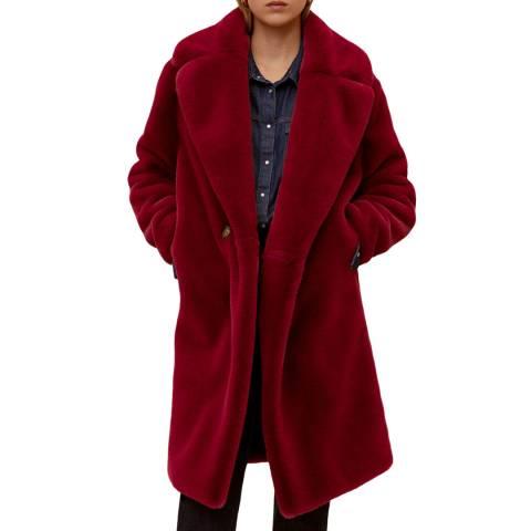 Mango Red Maxi Lapels Faux-Fur Coat