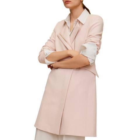Mango Pastel Pink Zip Straight-Cut Coat