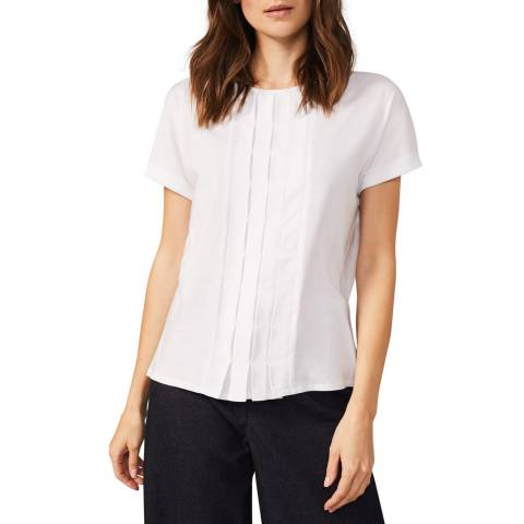 Phase Eight White Iona Pleat Front Top