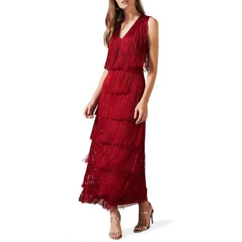 Phase Eight Red Kandice Fringe Dress