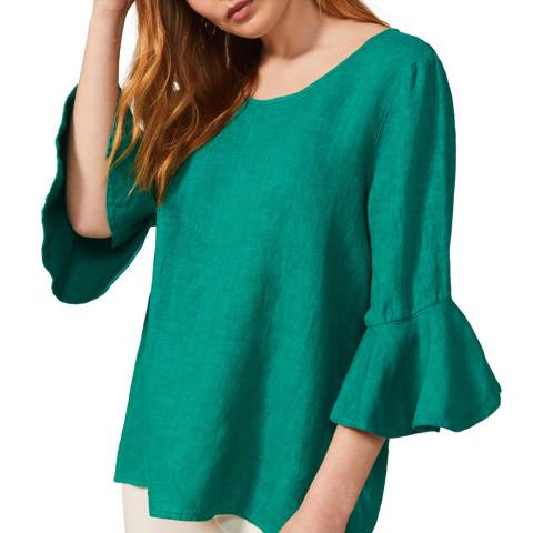 Phase Eight Green Fluted Sleeve Top