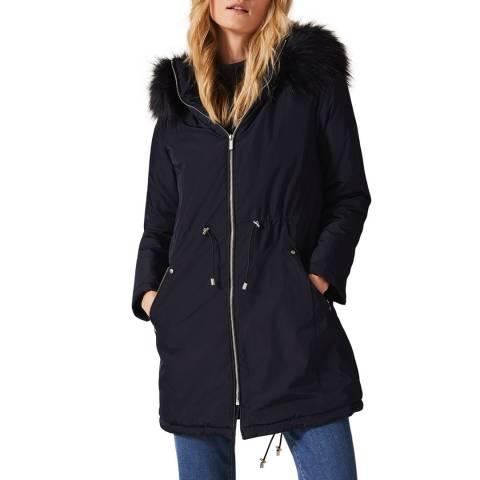 Phase Eight Navy Florentine Faux Fur Hood Coat