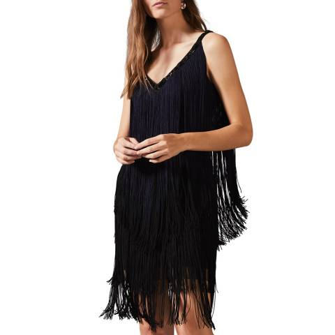 Phase Eight Navy/Black Missy Fringe Dress