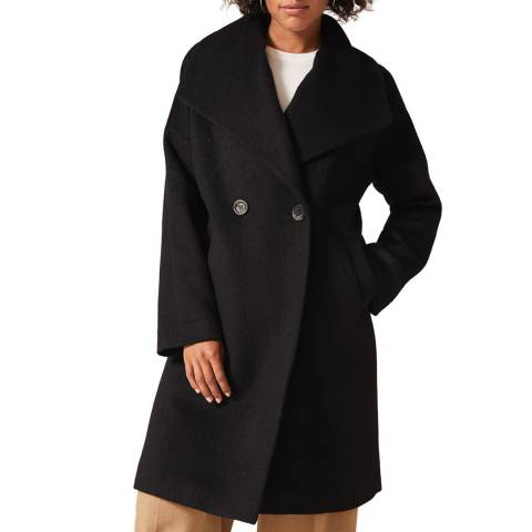 Phase Eight Black Beth Cocoon Wool Blend Coat