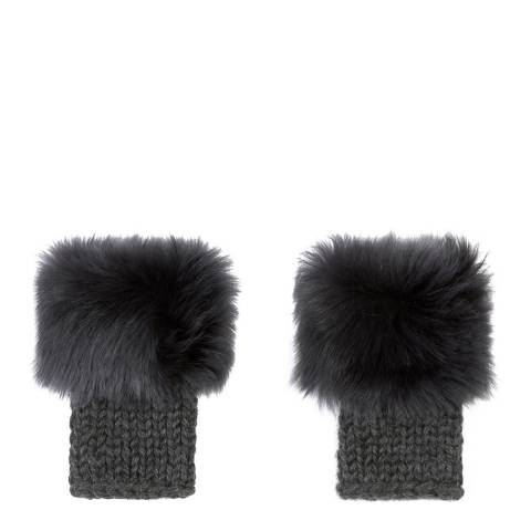 Gushlow & Cole Graphite Knit Shearling Fingerless Mittens