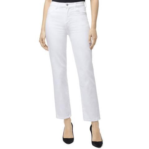 J Brand White Jules Straight Raw Hem Stretch Jeans