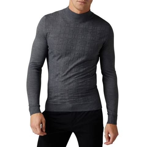Remus Uomo Grey Slim Wool Blend Jumper
