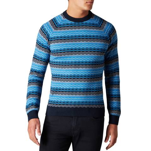 Remus Uomo Blue Fair-Isle Wool Blend Jumper