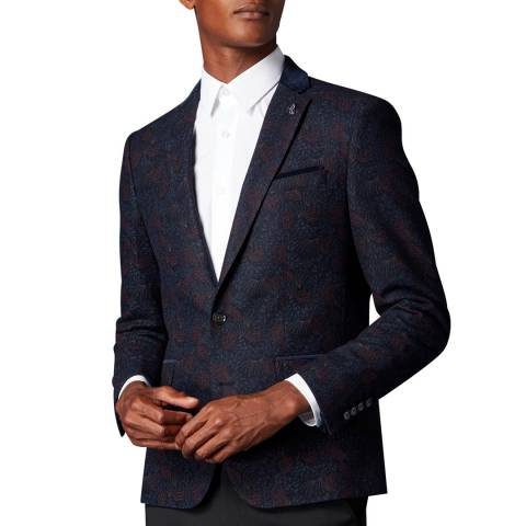 Remus Uomo Navy Slim Wool Blend Floral Jacket