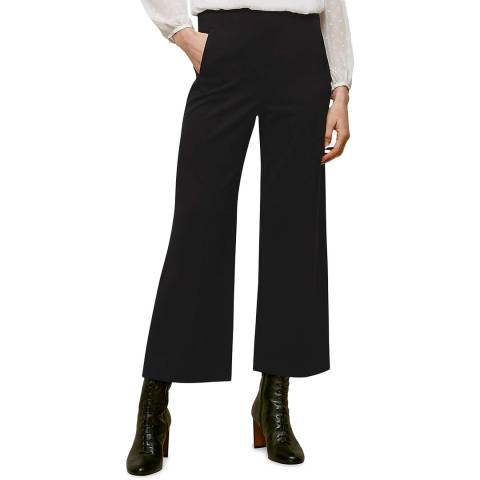 WHISTLES Black Flat Front Ponte Trousers